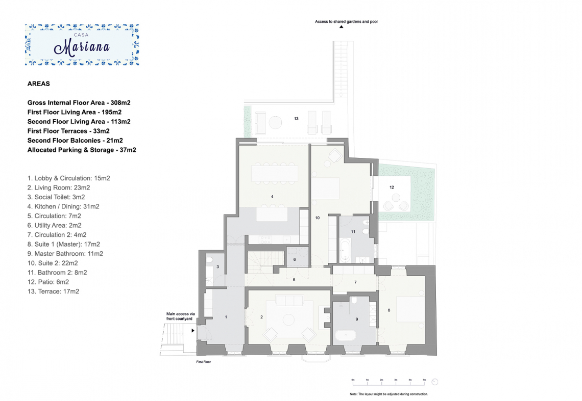 Casa Mariana 1st Floor Plan