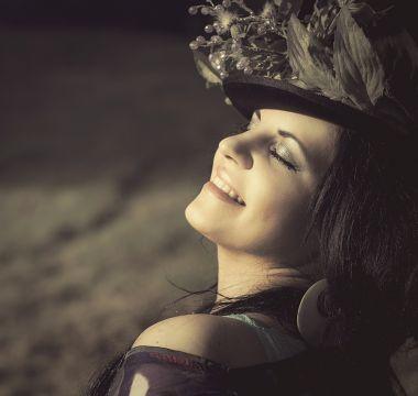 beauty woman flowered hat cap 55799